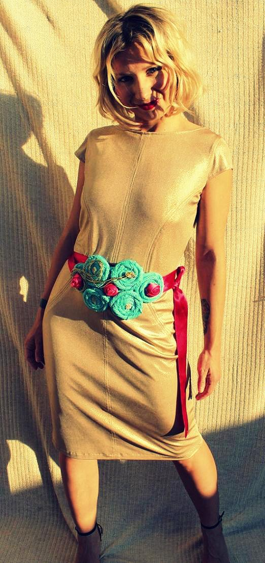 wedding outfit vintage 80s golden dress baby blue handmade belt