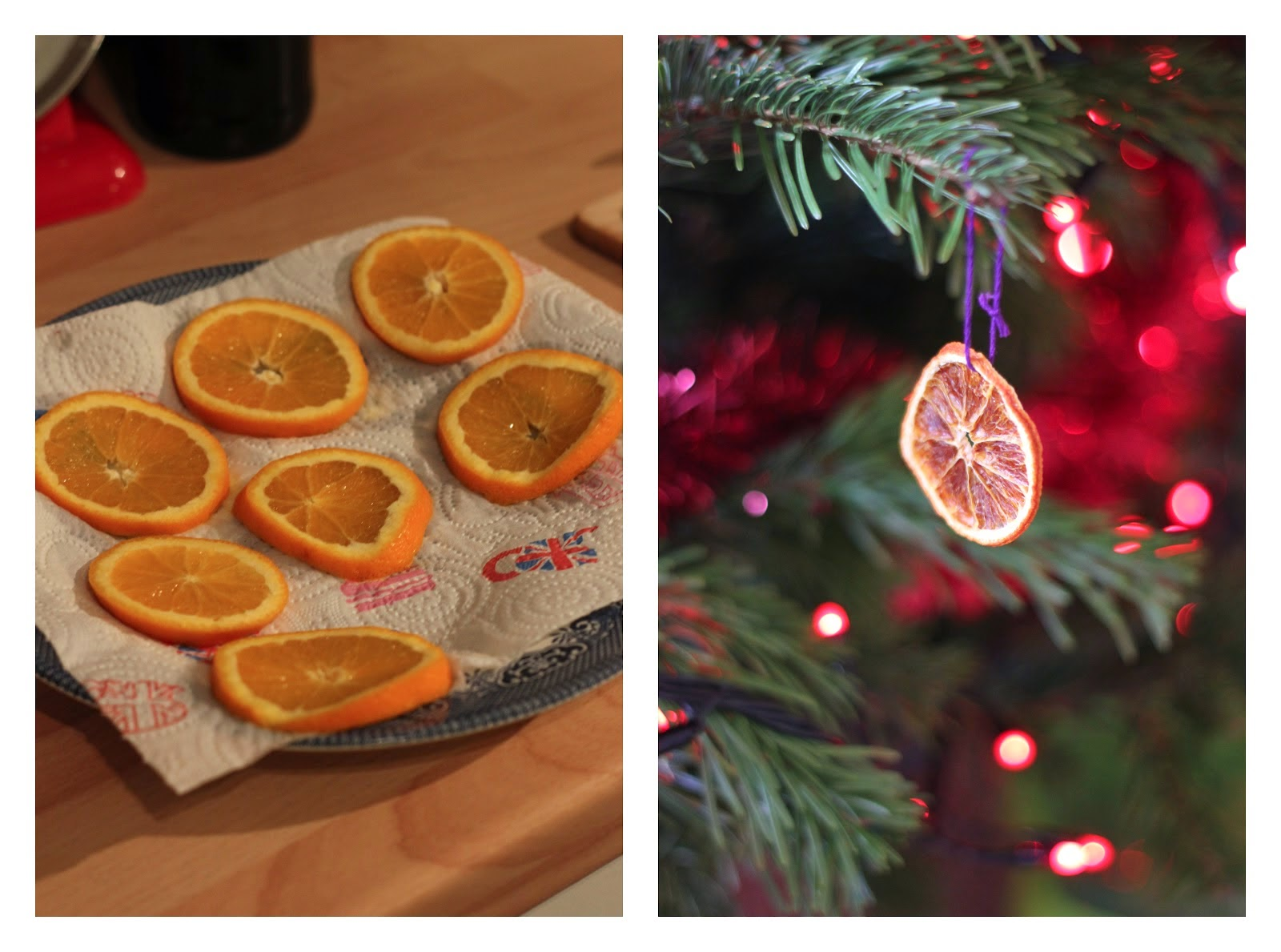 Dried orange christmas tree decorations