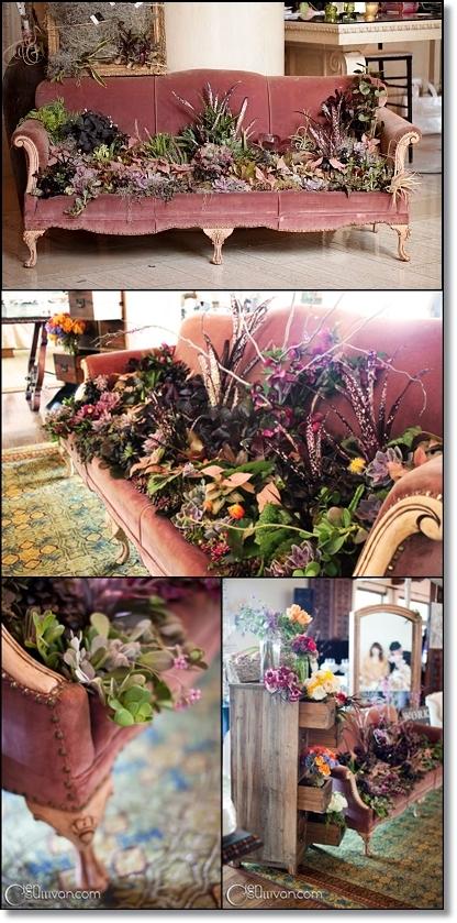vintage soffa, antik soffa, succulenter