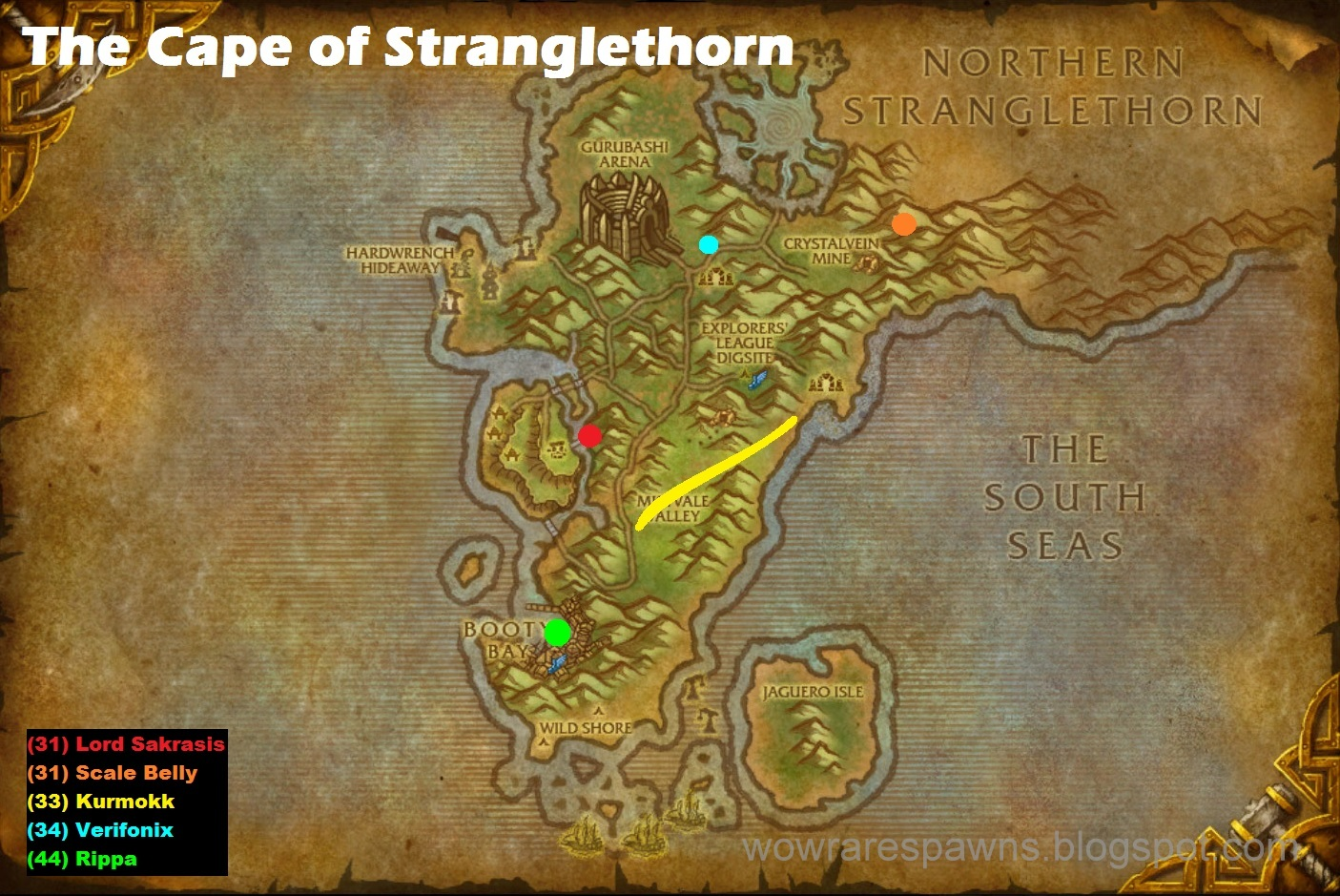 WoW Rare Spawns: The Cape of Stranglethorn Rare Spawns