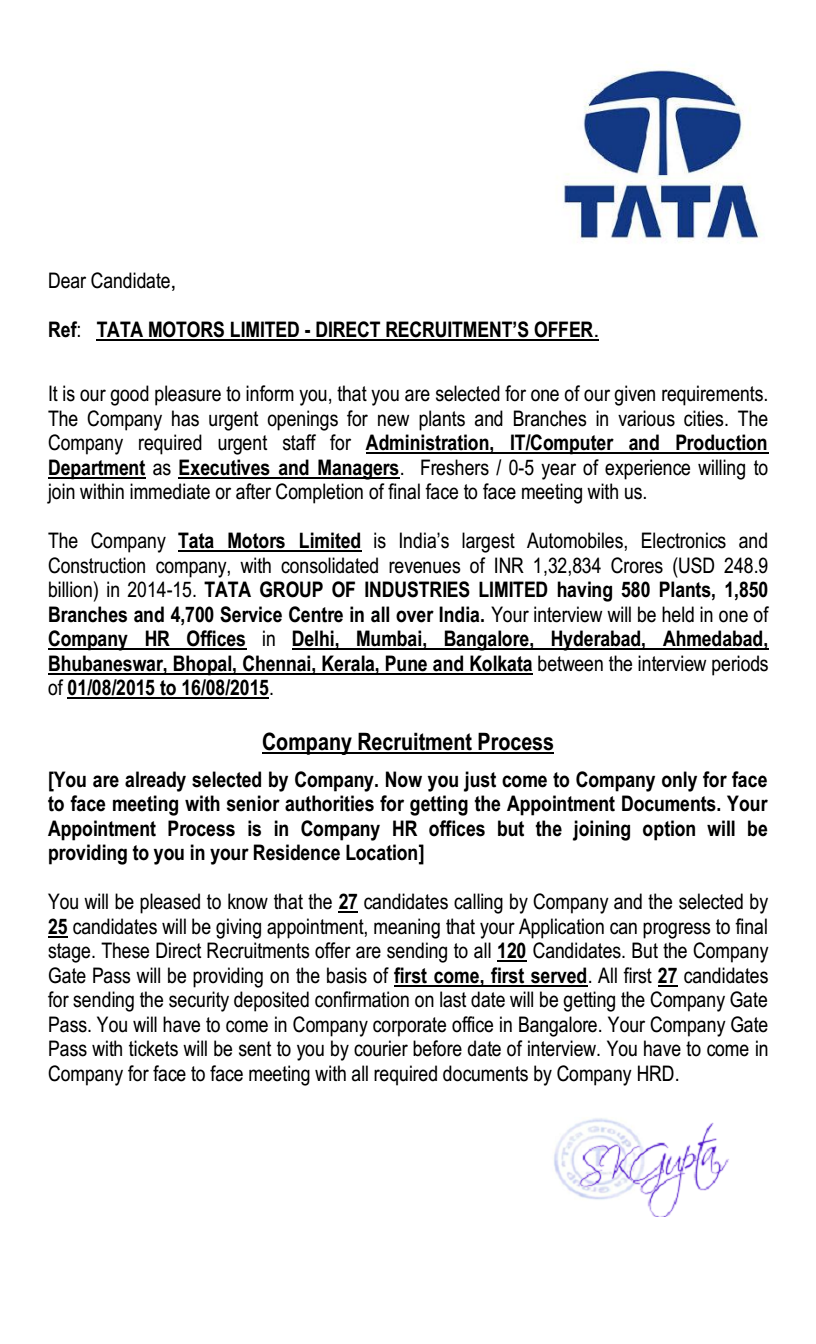 tata motors limited direct recruitment s offer complaints