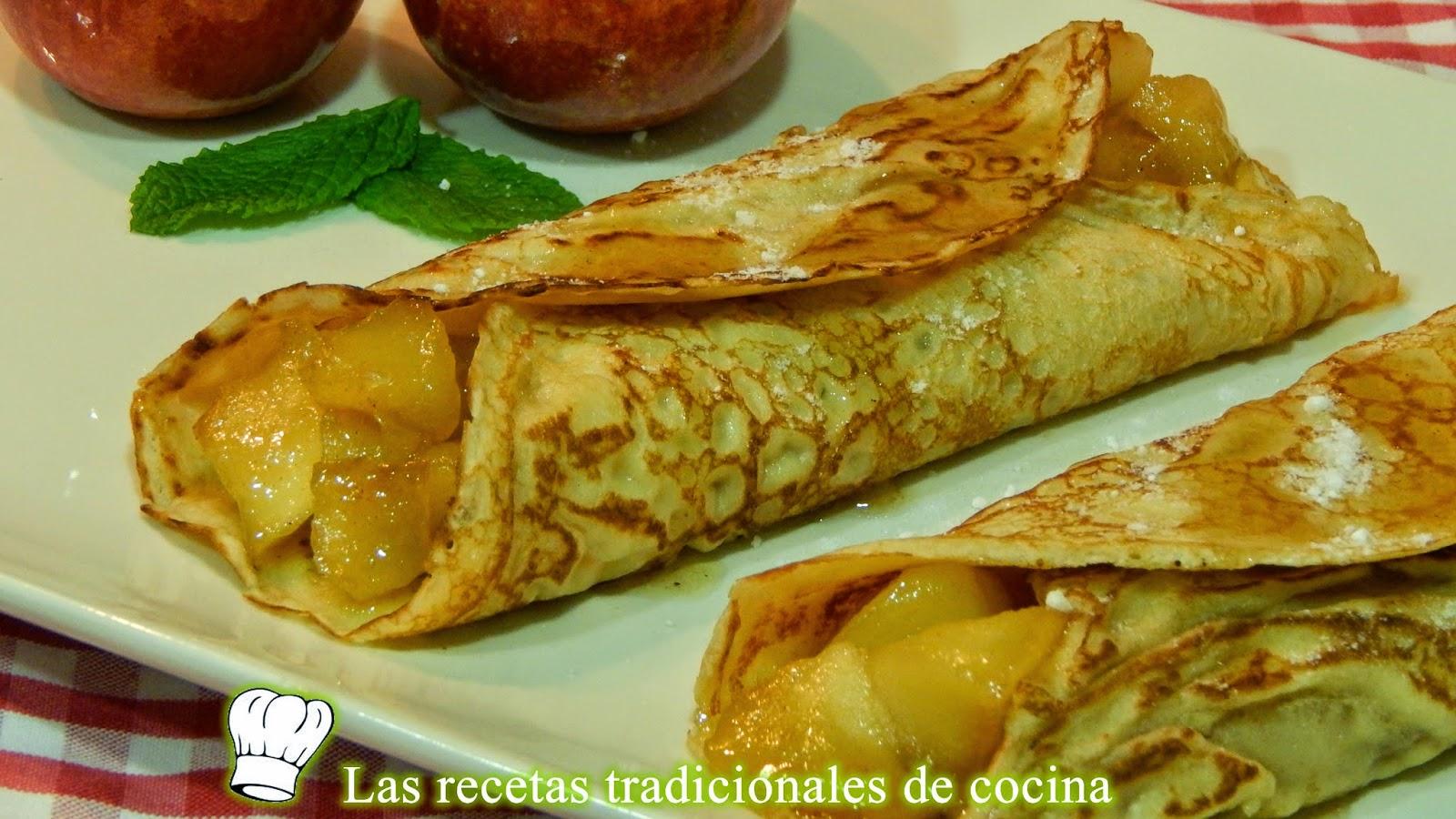 Crepes o tortillas rellenas de manzana