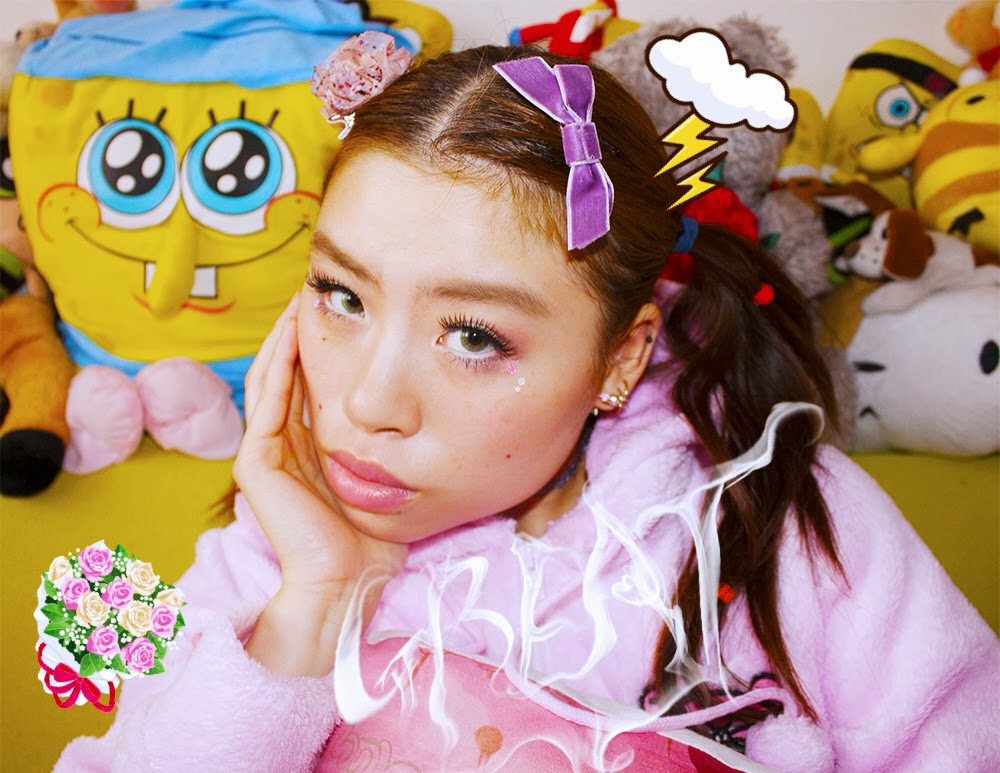 Girl with bows and flowers wearing Gloomy Bear