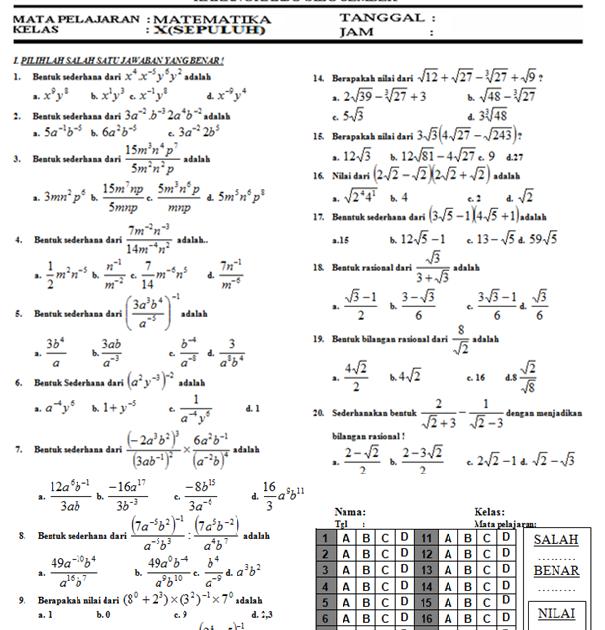 Pembelajaran Dan Bisnis Soal Matematika Kelas X Bilangan Kuadrat Dan Bil Rasional