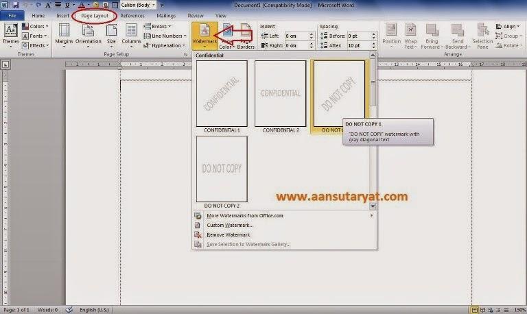 Cara Membuat Watermark Pada Microsoft Office Word 2010