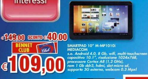 Promozione con la carta Bennet Club sul tablet da 10 pollici Mediacom e sistema operativo Android 4 ICS.
