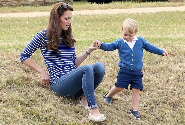 Catherine Duchess of Cambridge and Prince George attends the Gigaset Charity Polo Match with Prince George of Cambridge at Beaufort Polo Club