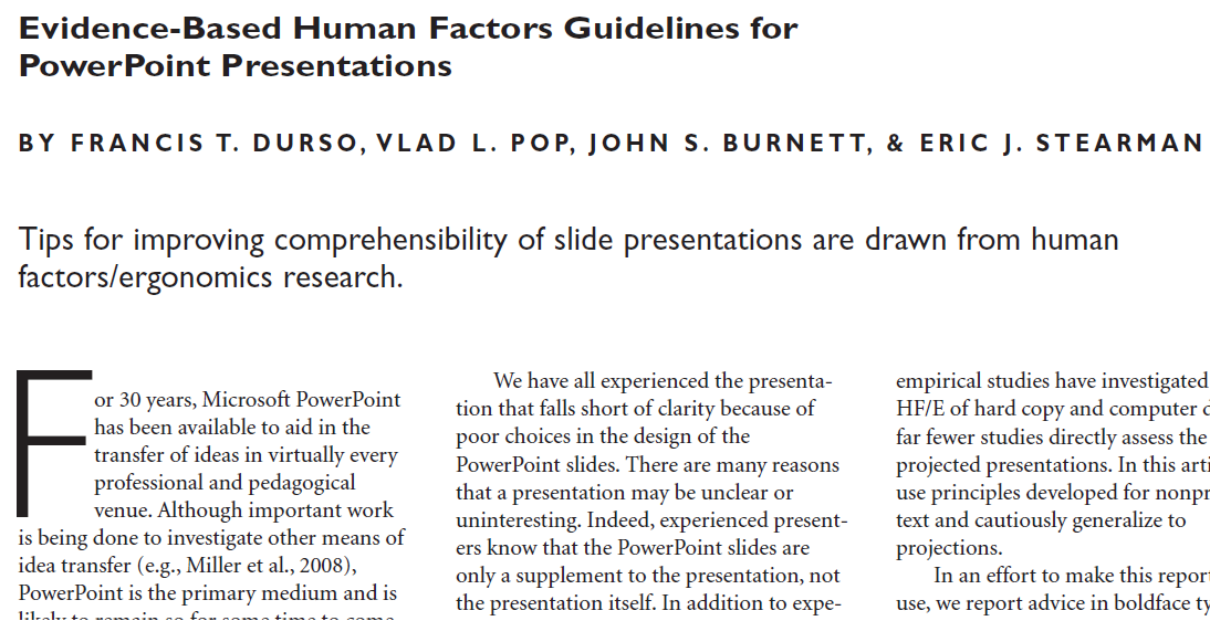 Evidence-Based Human Factors Guidelines for PowerPoint Presentations