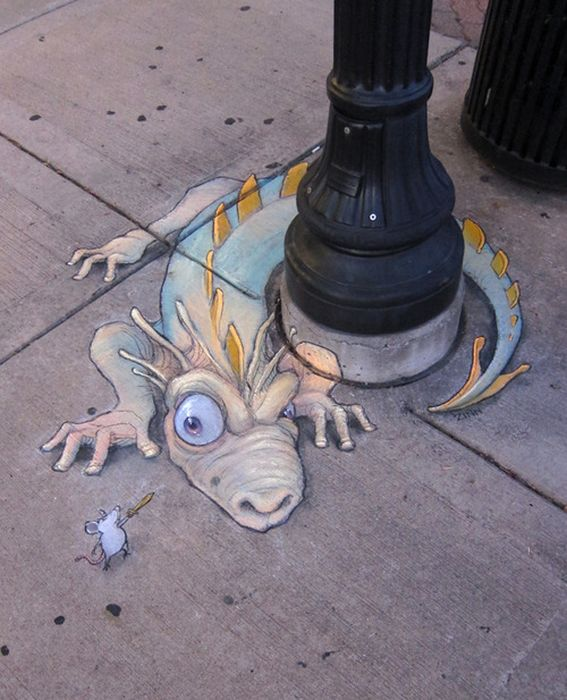 Sluggo, chalk art, awesome art, cool art, David Zinn. Ann Arbor artist