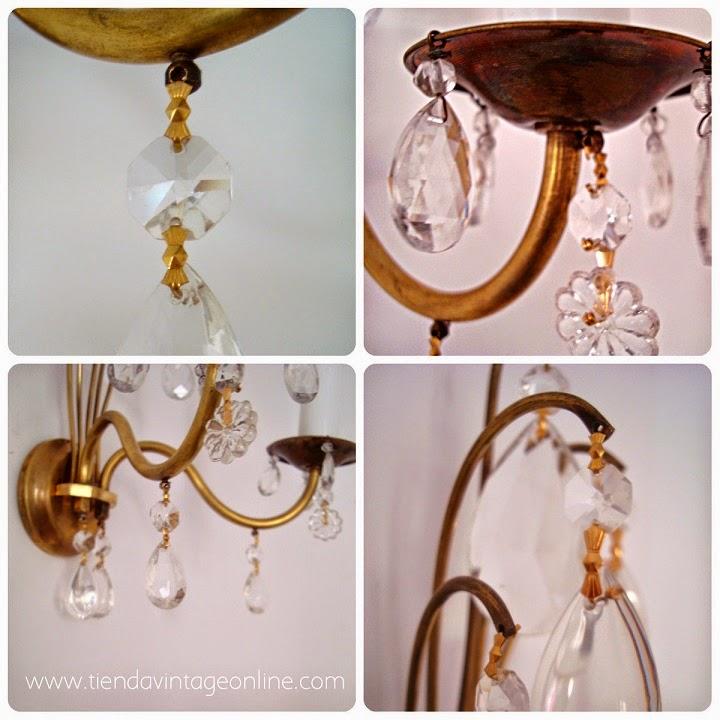 Lámparas vintage. Apliques dorados de latón y bronce en valencia