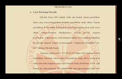 Contoh Skripsi Untuk PTK PGSD