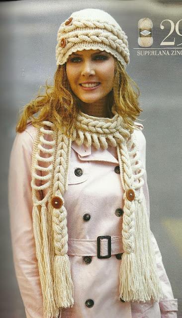 Шапочка и шарф спицами в необычной технике. Мини МК