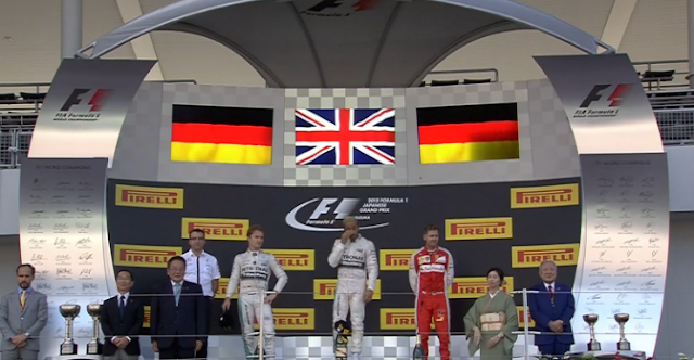 Suzuka Japanese Podium F1 GP 2015 for www.Formula1Race.co.uk courtesy BBC Sport