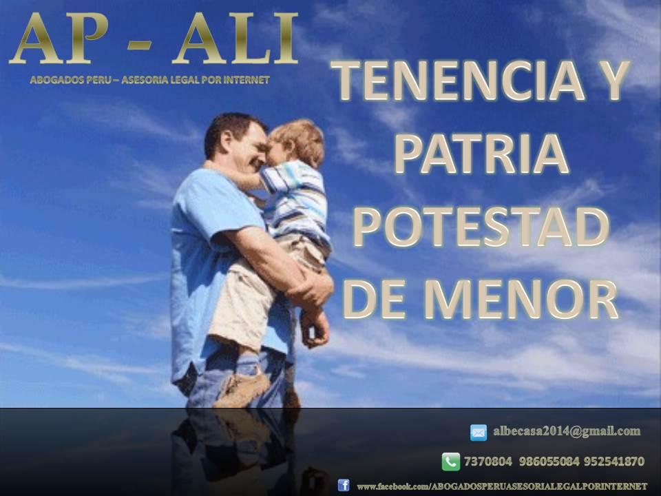 TENENCIA Y PATRIA POTESTAD DE MENOR
