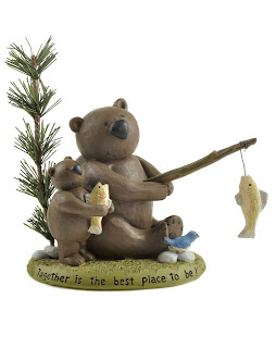 bears dad and son fishing together is the best place to be  blossom bucket figurine