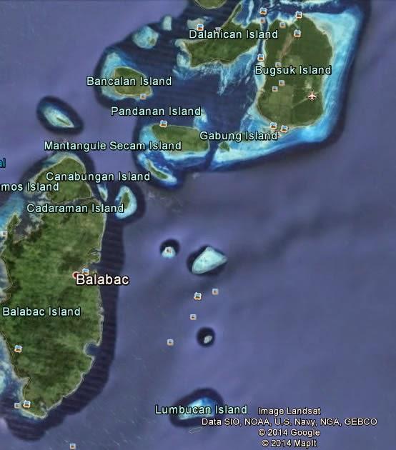 Bugsuk Island, Balabac, Palawan - Google Earth