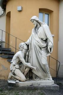 Escultura 'Jesus curando al ciego Bartimeo' por Johann Heinrich Stöver, 1861