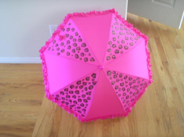 hot pink leopard parasol