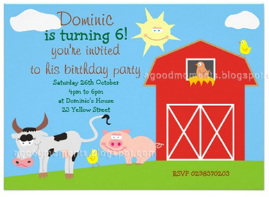 good moments Farm Animals Birthday Party Invitation
