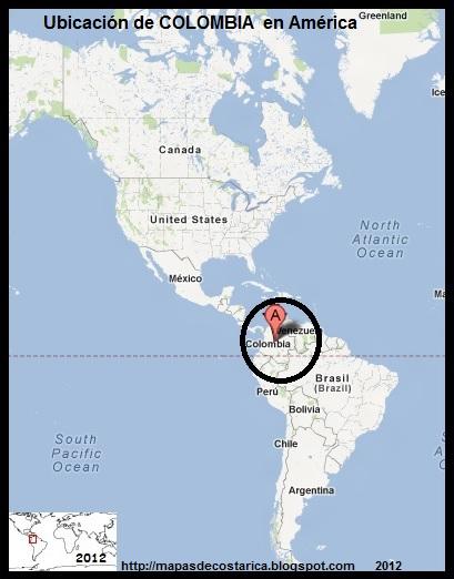 América. Ubicación de COLOMBIA en América, Google Maps