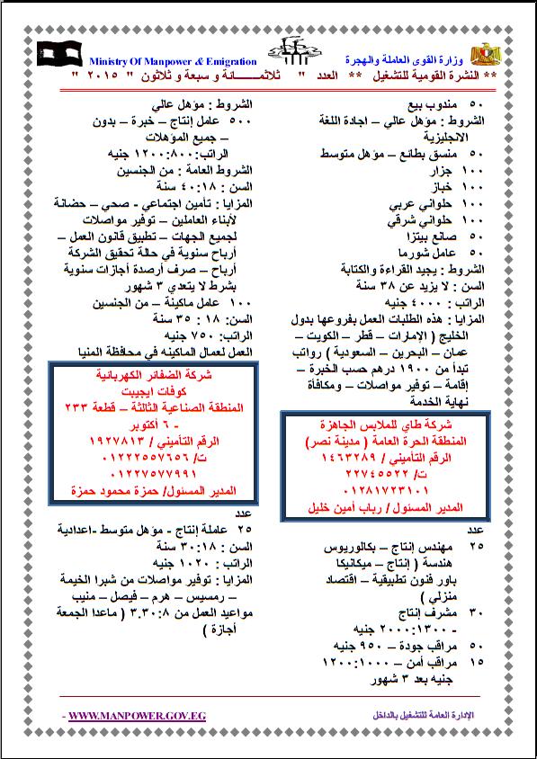 """وزارة القوى العاملة والنشرة القومية للتشغيل """" 13530 وظيفة """" للمؤهلات العليا والمتوسطة"""