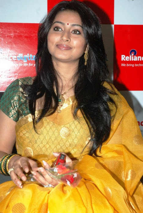 sneha in yellow saree from india