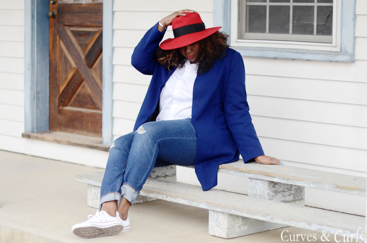 #Missguidedplus jacket , casual fashion #plussize #blogger #curvesandcurls ,red #fedora