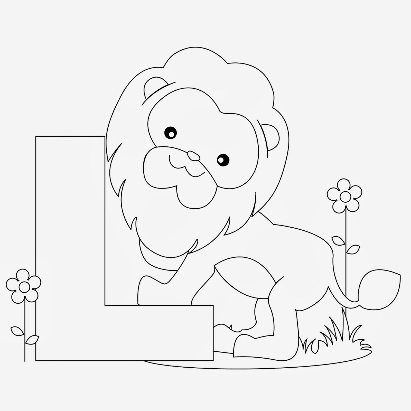 Printable Alphabet Coloring Page Lion