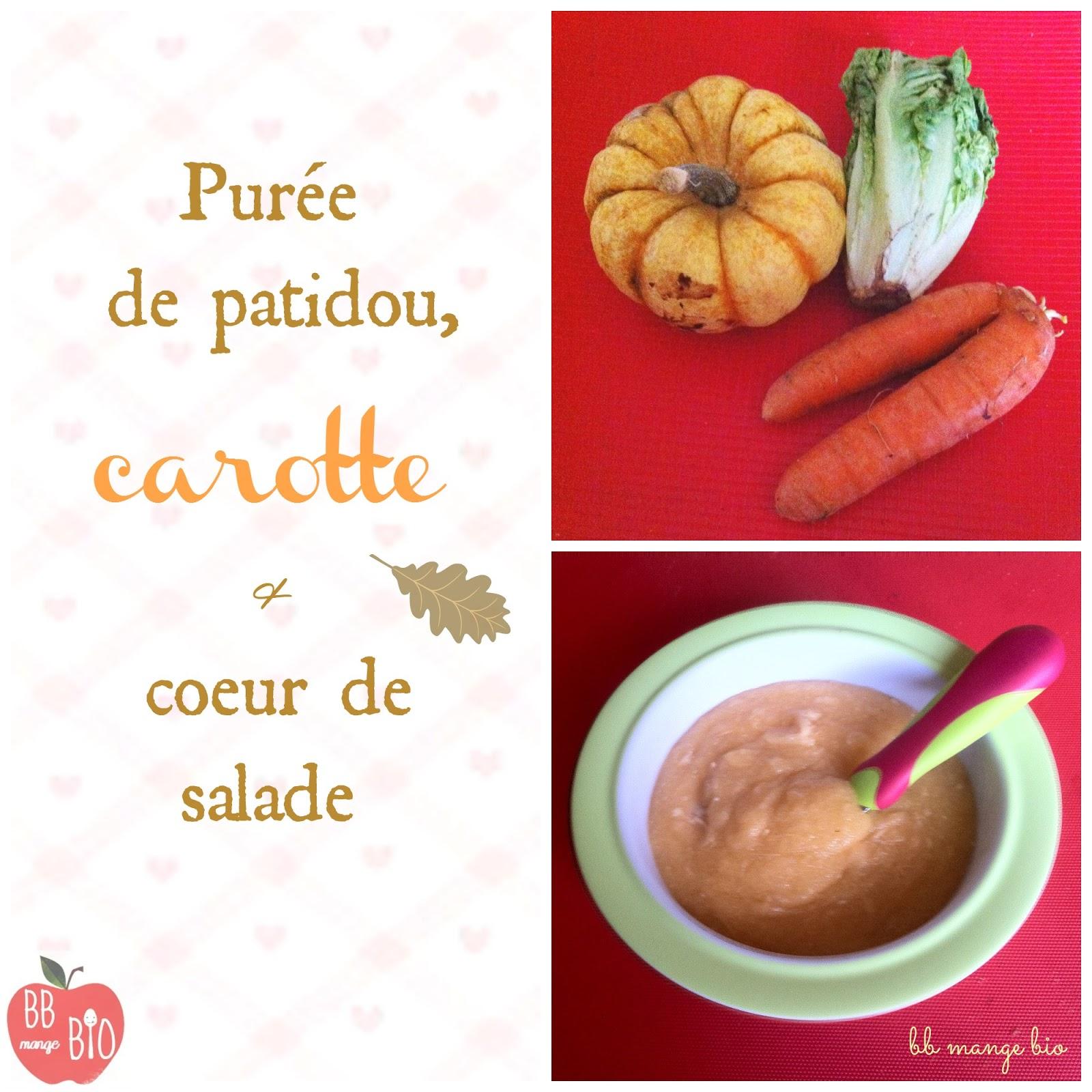 Recette bio pour bébé patidou carotte et salade en purée