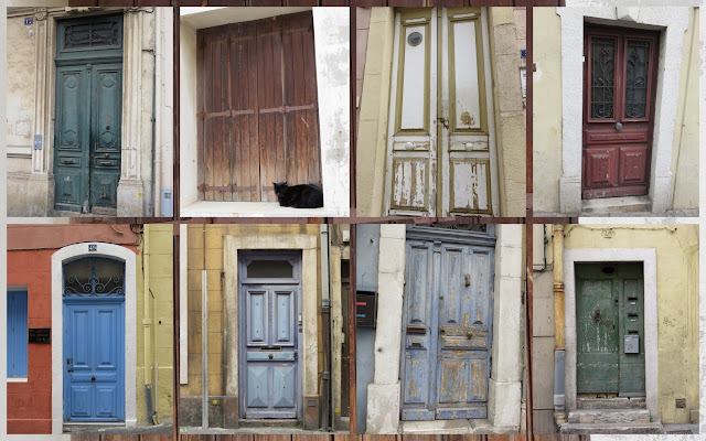 Distressed doors in Languedoc, France