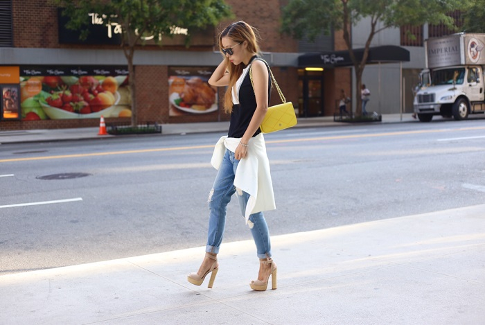 Jcrew txedo tank top, 7fam boyfriend jeans, nastygal sunglasses, tory burch bag, schutz sandals, street style, nyc, nycblogger, fashion blog, casual weekend, Prada retro sunglasses