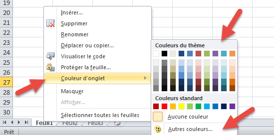 Colorer onglet feuille excel