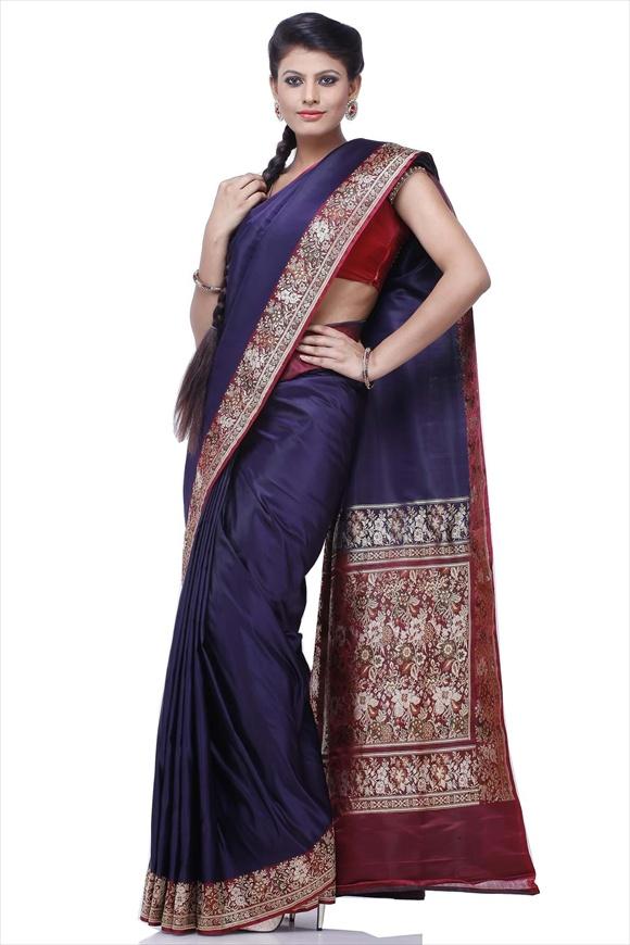 Royal Blue Satin Banarasi Saree