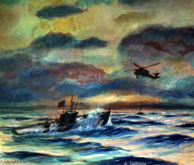 Pintura al óleo de un rescate en el mar segundo boceto