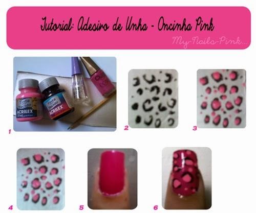 Tutorial Adesivo de Unha na caixa de leite Oncinha Pink