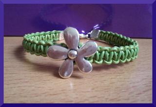 pulsera cuero verde flor