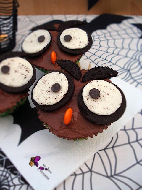 buho, cupcake, cupcakes, cupcakes buho, cupcakes con oreos, cupcakes de vainilla, cupcakes para halloween, halloween,