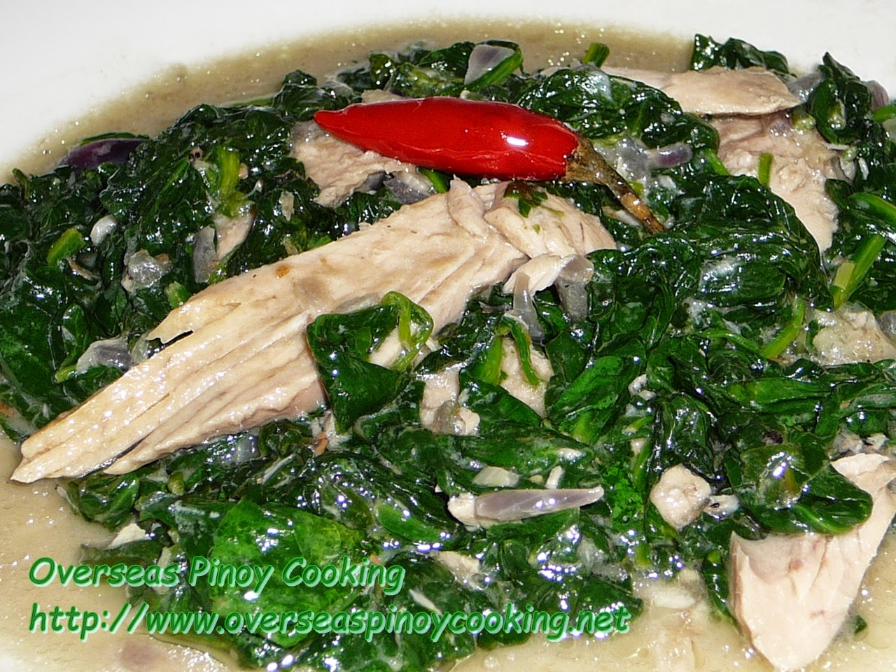 Ginataang Canned Smoked Tuna with Spinach
