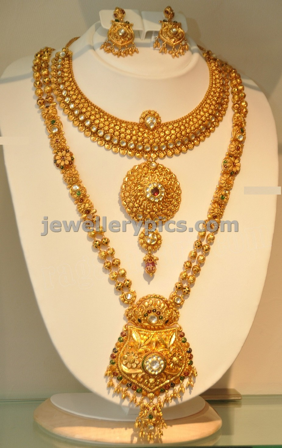 gold uneven shape jewelsmart premium stylish gram ruby necklace online designs kundan emerald design floral one buy imitation jewellery