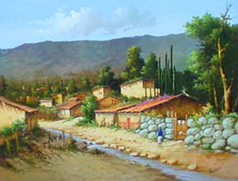 Casas de pueblos mexicanos pintados al leo car interior - Casas de pueblo ...