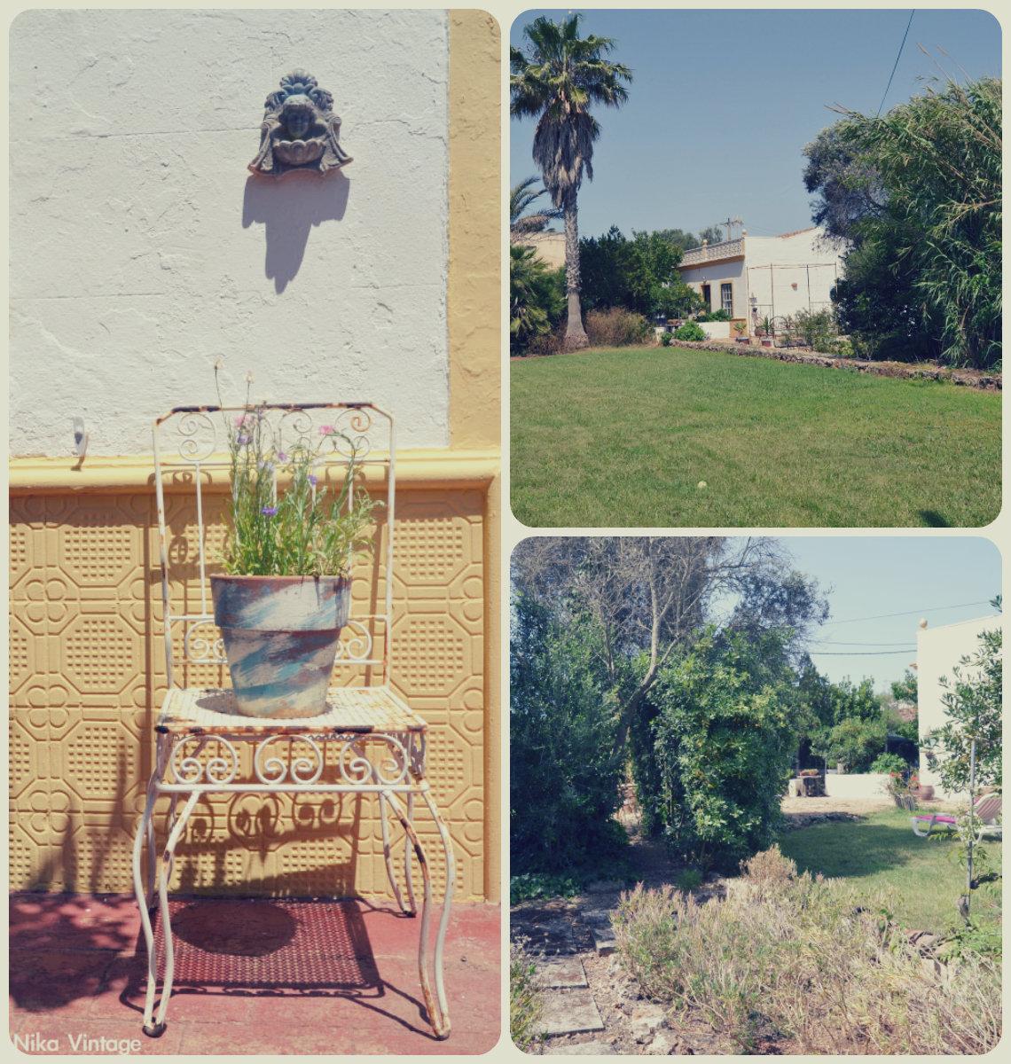 hoy compartimos, blog hop, jardin, menorca, vintage, decoracion, silla hierro, zonas jardin