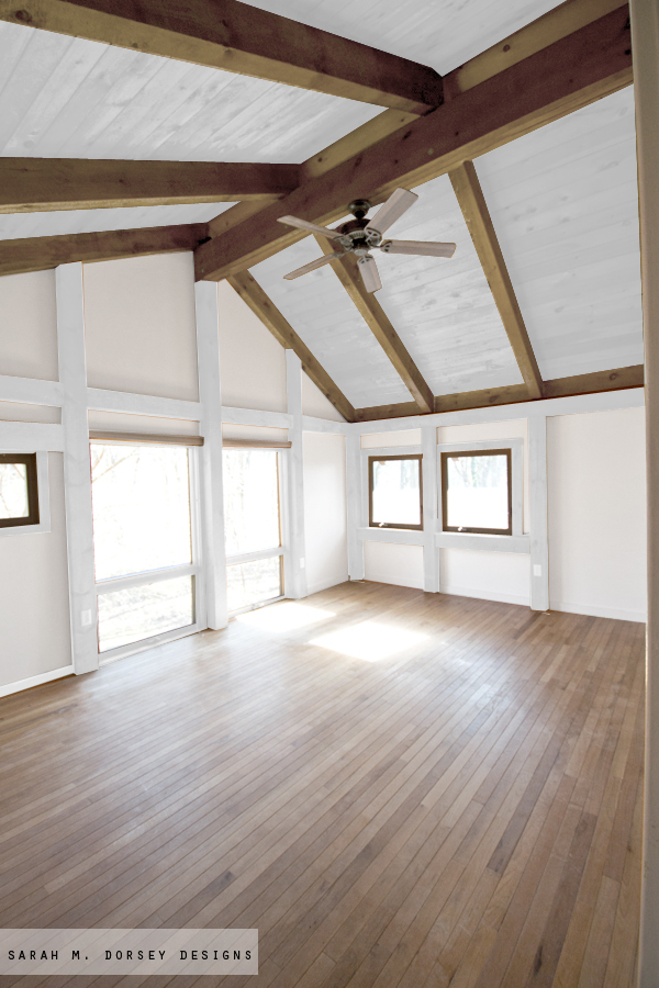 Sarah m dorsey designs wood in our house to paint or for Natural wood beams