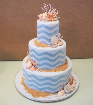 Beach Themes Wedding Cake