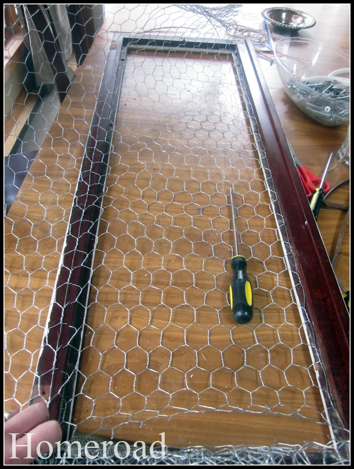 Homeroad upcycling a china cabinet door 2 for Chicken wire craft ideas