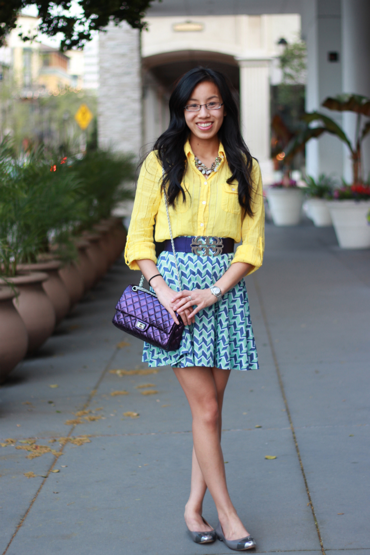 bariii geometric circle skater skirt yellow blouse buttonup tory burch belt geometry pattern chanel metallic reissue purple colorblock