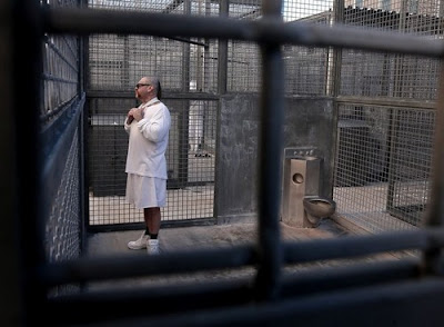 Robert Galvan in prison for a double murder in 1996 gets 3 hours outside a day in a secure cell at San Quentin State Prison.