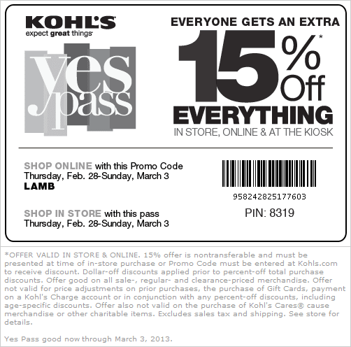 Extra 15% off one time only off your next online purchase when you sign up for mobile Sale Alerts. TEXT SAVE07 or SAVE24 to (KOHLS)* TEXT HELP FOR HELP, STOP TO CANCEL. If you already signed up, try first texting STOP to then text SAVE07 to