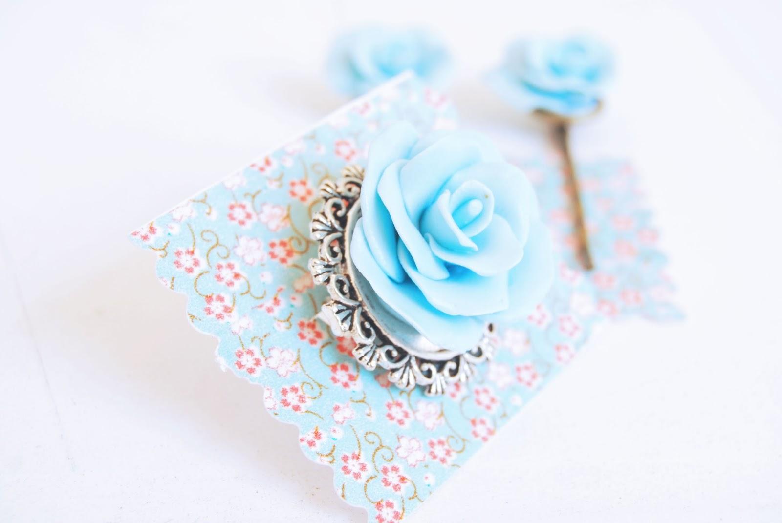 rosa azul de arcilla polimerica