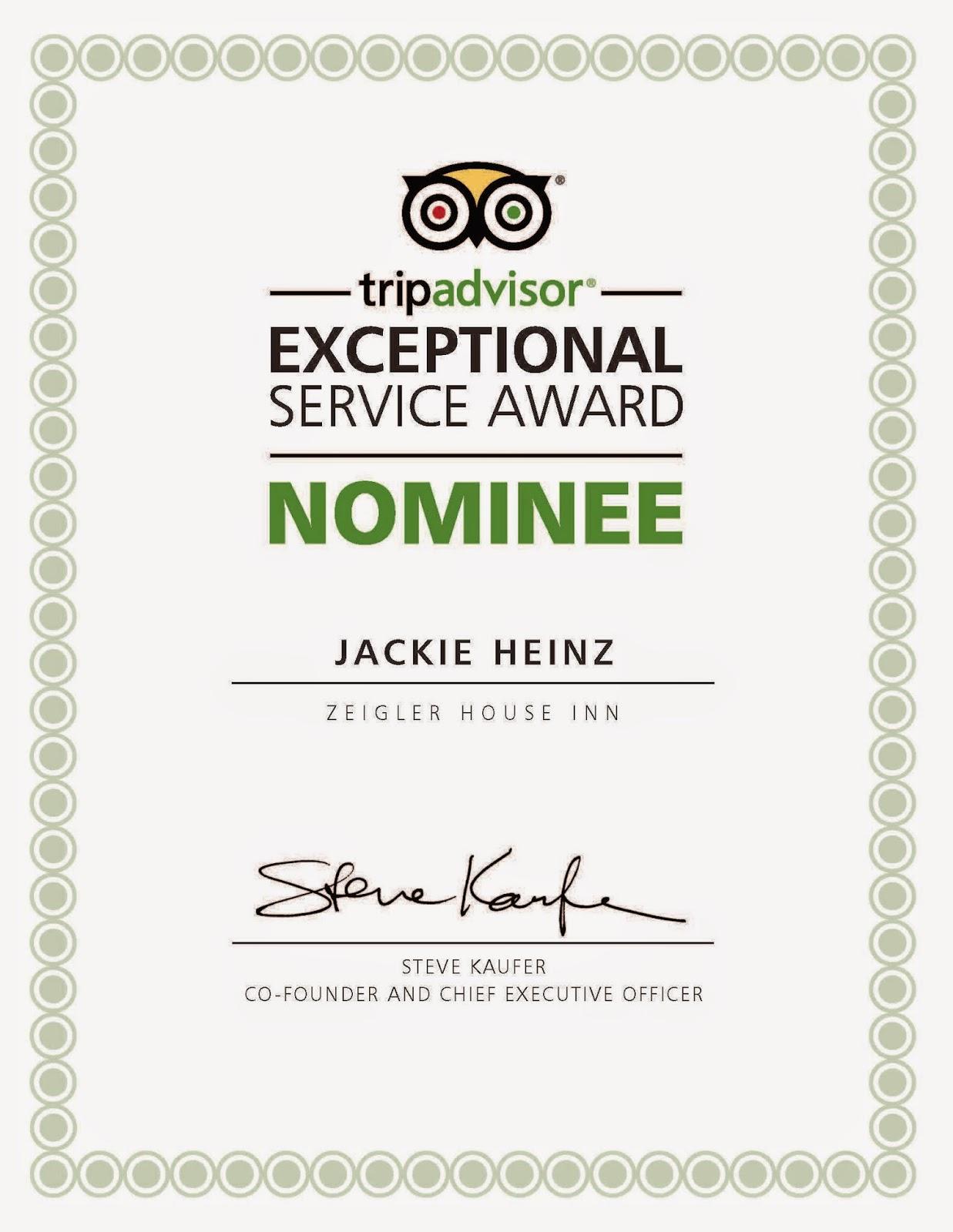 Savannah inn's innkeeper is TripAdvisor Exceptional Award Nominee