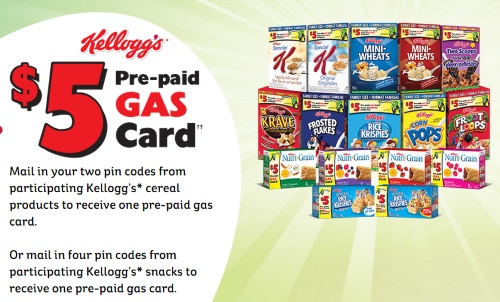 Kelloggs Free $5 Pre-Paid Gas Cards